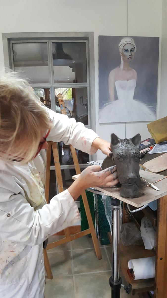 Sandra Groën - chien céramique en grès